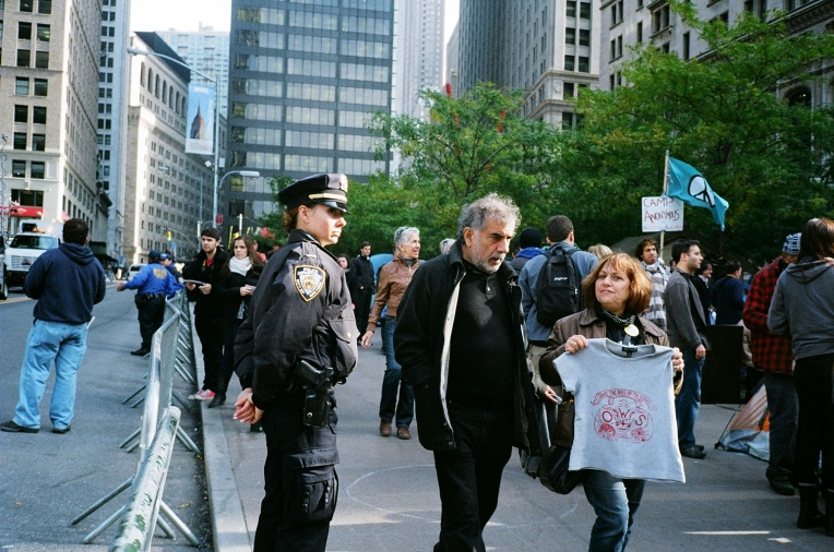 Police presence at the Occupy Wall Street protest camp in Zucotti Park, October 2011.