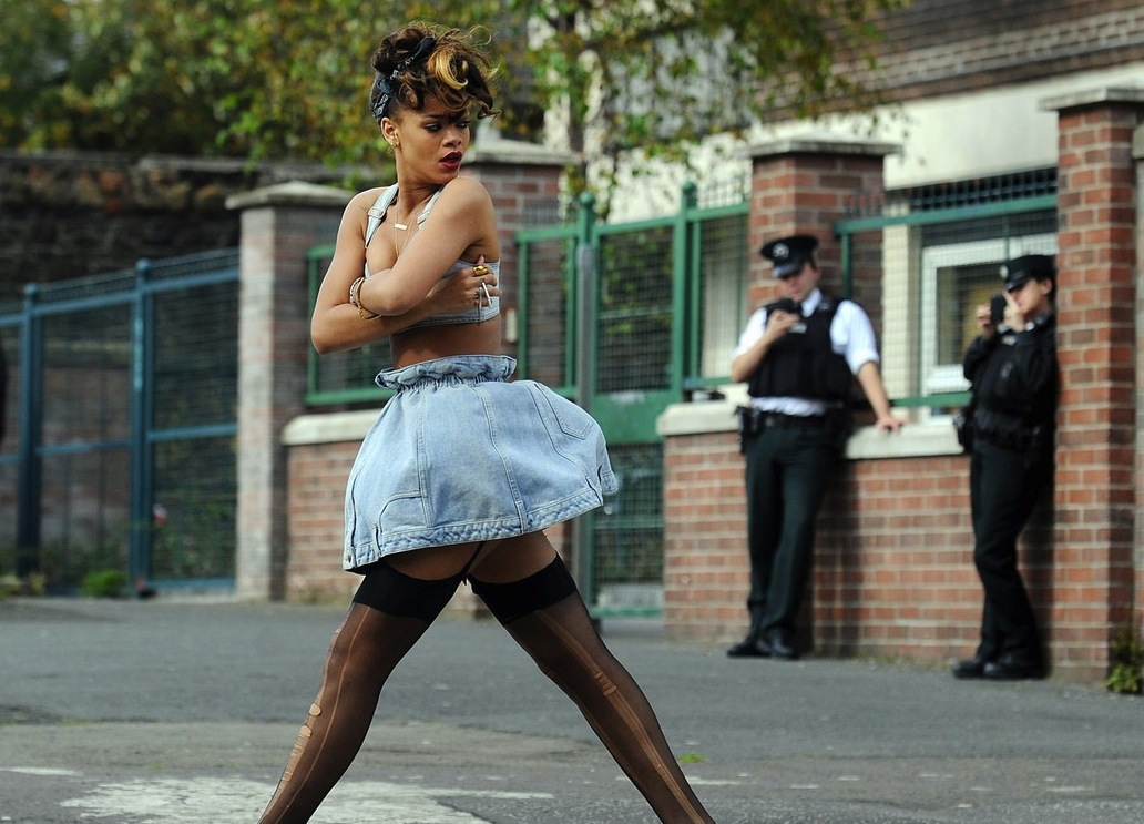 Rihanna Causes A Stir On Music Video Set